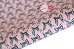 Navy/Pink Sailor Bows Soft Faux Leather Fabric Sheet