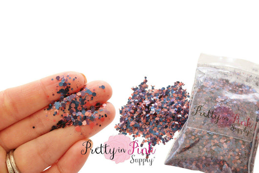 Navy/Mauve Mixed Confetti Loose Glitter