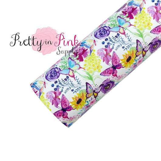 Butterfly Garden | Faux Leather Fabric Sheet