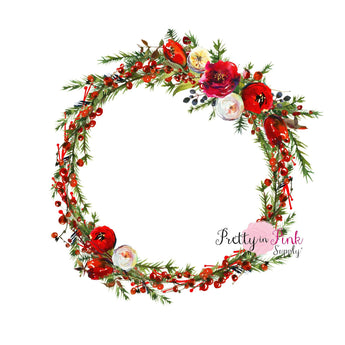 Christmas Pine Floral Wreath Iron On