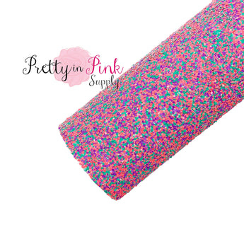 Rolled purple, pink, turquoise mixed chunky glitter sheet.