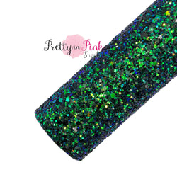 Rolled Blue, Green, and Black Chunky Mix Glitter Sheet