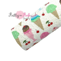 Rolled white chunky glitter sheet with ice cream and cherries print.