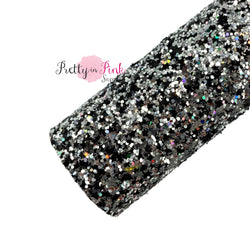 Rolled Silver Chunky Glitter and Black Glitter Stars Mix Chunky Glitter Sheet