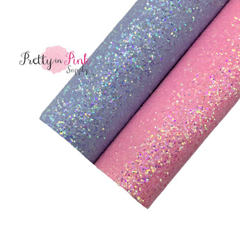 Rolled chunky glitter lavender and pink faux leather sheets.