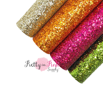 Group Photo of Light Gold, Autumn Orange, Hot Pink, and Olive Green Chunky Glitter Sheets