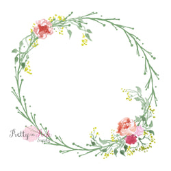 Twig Floral WREATH Iron On