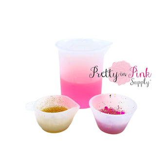 Silicone Measuring and Mixing Cups - Pretty in Pink Supply