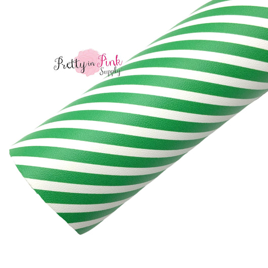 Rolled faux leather sheet with Emerald and white diagonal stripes.