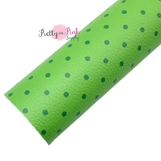 Feelin Green Dots | Faux Leather Fabric Sheet
