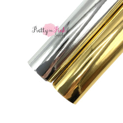 Rolled Gold Glossy Metallic Faux Leather and Silver Glossy Metallic Faux Leather Sheet Group Photo
