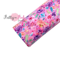 Pink Spring Floral | Faux Leather Fabric Sheet