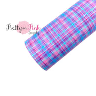 Purple Blue Tartan | Faux Leather Fabric Sheet
