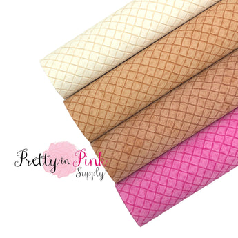 Group Photo of rolled waffle cone textured faux leather sheets in Ivory, Tan, Brown, and Hot Pink.