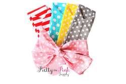 Polka Dot/Stripes Cotton Head Wraps-Untied - Pretty in Pink Supply