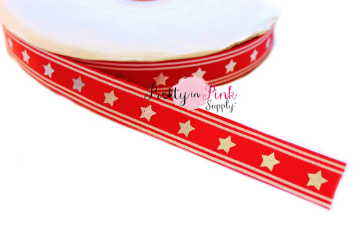 Red/Silver Star Grosgrain Ribbon - Pretty in Pink Supply