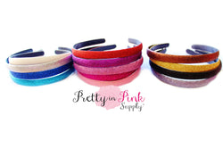 Wide Glitter Lined Headbands - Pretty in Pink Supply