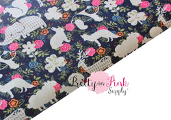 Navy/Floral Animal Fabric - Pretty in Pink Supply