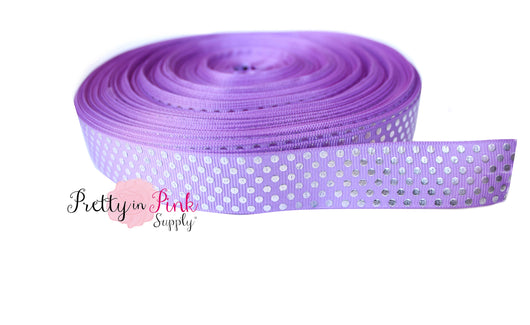 Purple/Silver Metallic Dot Grosgrain Ribbon - Pretty in Pink Supply