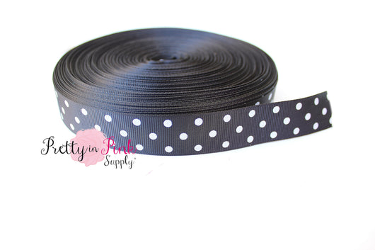 Black/White Polka Dot Grosgrain Ribbon - Pretty in Pink Supply