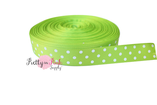 Lime/White Polka Dot Grosgrain Ribbon - Pretty in Pink Supply