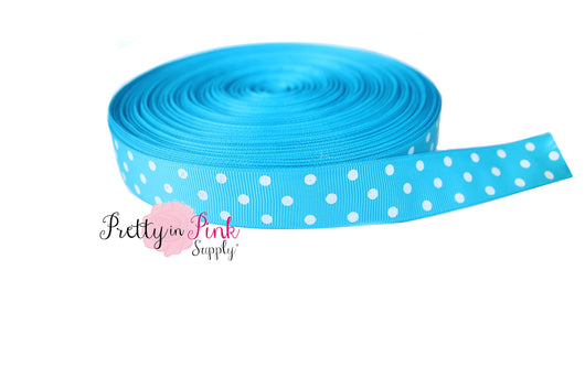 Blue/White Polka Dot Grosgrain Ribbon - Pretty in Pink Supply