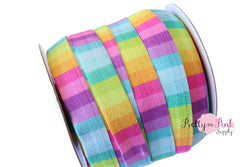Bright Checker Print Elastic