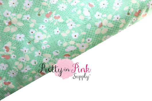 Mint/White Floral Fabric - Pretty in Pink Supply