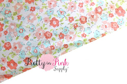 Coral/Blue Floral Fabric - Pretty in Pink Supply