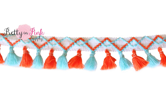 5mm Light Blue/Orange Mixed Tassel Trim by the Yard - Pretty in Pink Supply