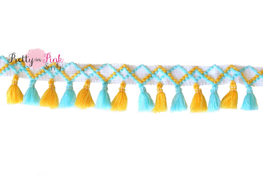 5mm Light Blue/Yellow Mixed Tassel Trim by the Yard - Pretty in Pink Supply