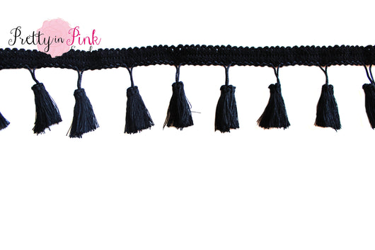 5mm Black Tassel Trim - Pretty in Pink Supply