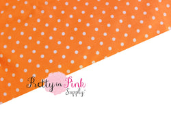 Orange/White Polka Dot Fabric - Pretty in Pink Supply