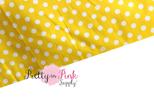 Yellow/White Polka Dot Fabric - Pretty in Pink Supply