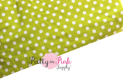 Lime Green/White Polka Dot Fabric - Pretty in Pink Supply