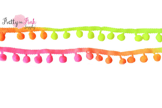20mm Neon Ombre Pom Pom Trim - Pretty in Pink Supply