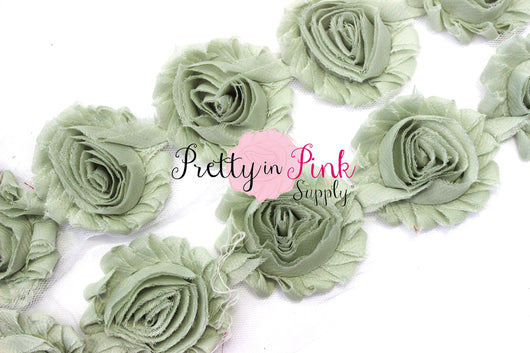 Sage - Green Shabby Rose Trim - Pretty in Pink Supply