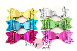 Leather/Glitter Multi Layered Bow - Pretty in Pink Supply