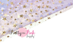 Lavender Gold Star Sheer Fabric - Pretty in Pink Supply
