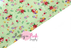 Green Rose Floral Fabric - Pretty in Pink Supply