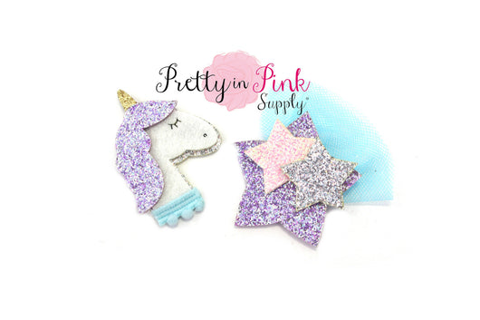 Felt/Glitter Unicorn OR Star Applique - Pretty in Pink Supply