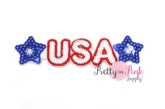 U.S.A. Star Sequin Iron On Patch - Pretty in Pink Supply
