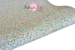 Light Aqua/Gold Pastel Chunky Glitter Sheet