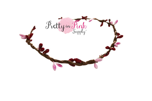 Red/Light Pink Beaded Twig Crown