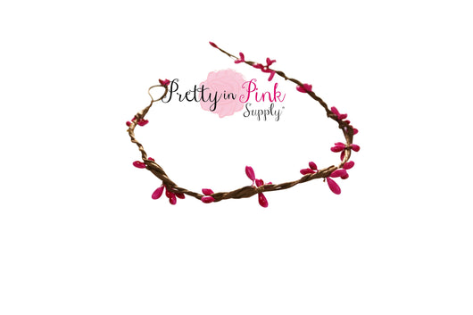 Hot Pink/Beaded Twig Crown