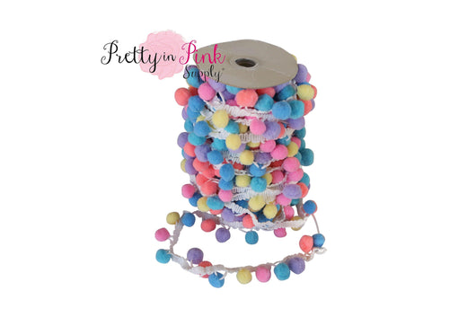 17mm Pastel Mix  Pom Pom Trim