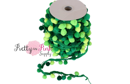 17mm Green Mix Pom Pom Trim