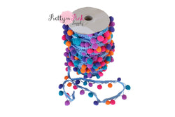 17mm Blue/Orange/Pink Multi Color Pom Pom Trim