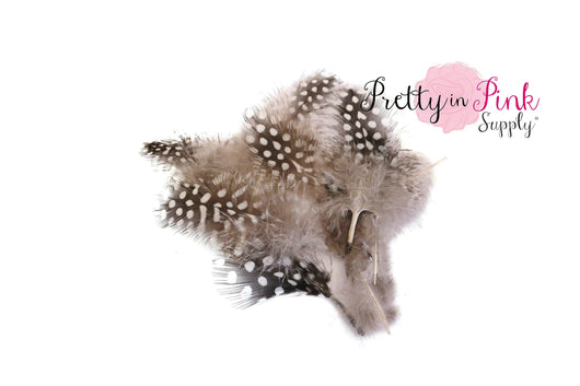 Pack of 5 White/ Black Spotted Feather Grab Bag