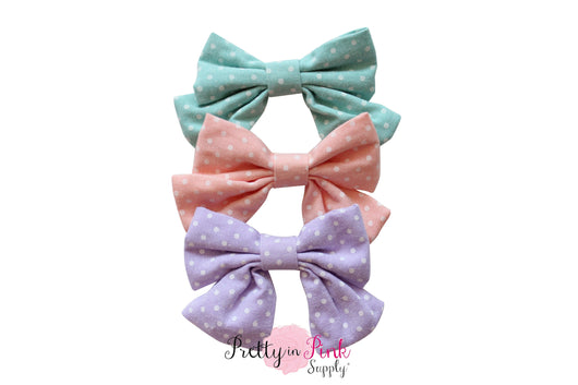 SMALL Dot Fabric TAIL Bow